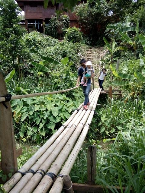 มีสะพานไม้ไผ่ให้เดินข้าม มีความเรียลมาก ตกจริง เจ็บจริง เรียลจริง ฮ่า